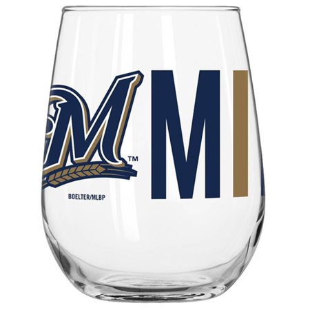 Milwaukee Brewers 16oz. Overtime Curved Glass - No (Boelter Milwaukee Brewers Glass)