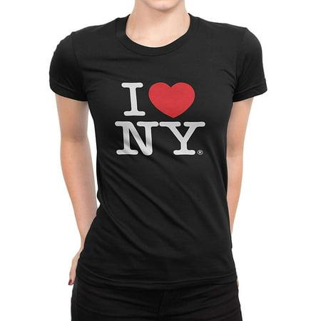 I Love NY New York Womens T-Shirt Spandex Tee Heart Black Xl