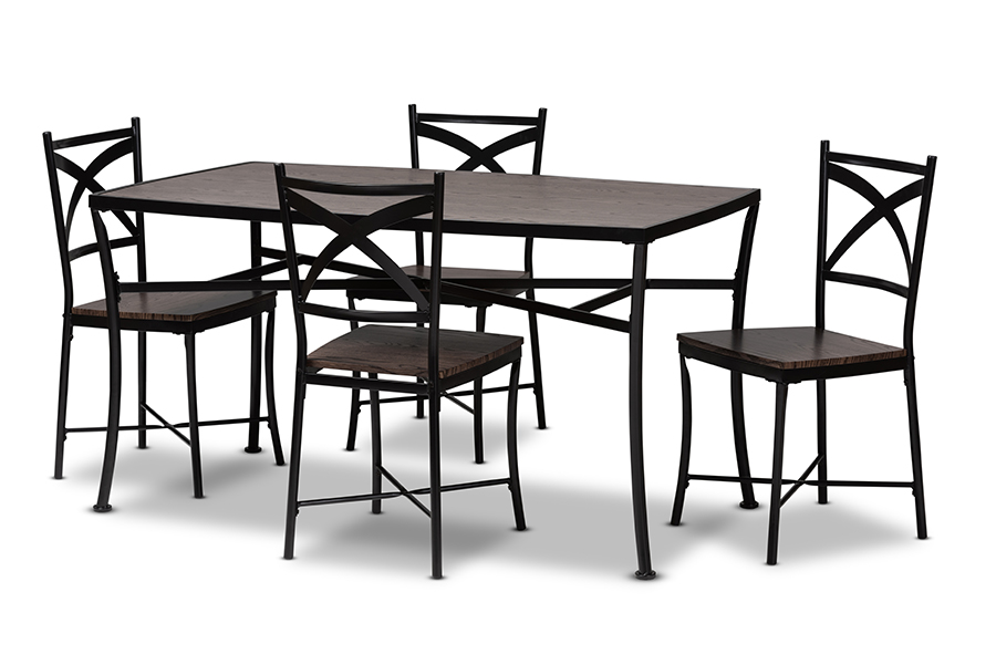 Baxton Studio Josie Rustic And Industrial Brown Wood Finished Matte Black  Frame 5 Piece Dining Set