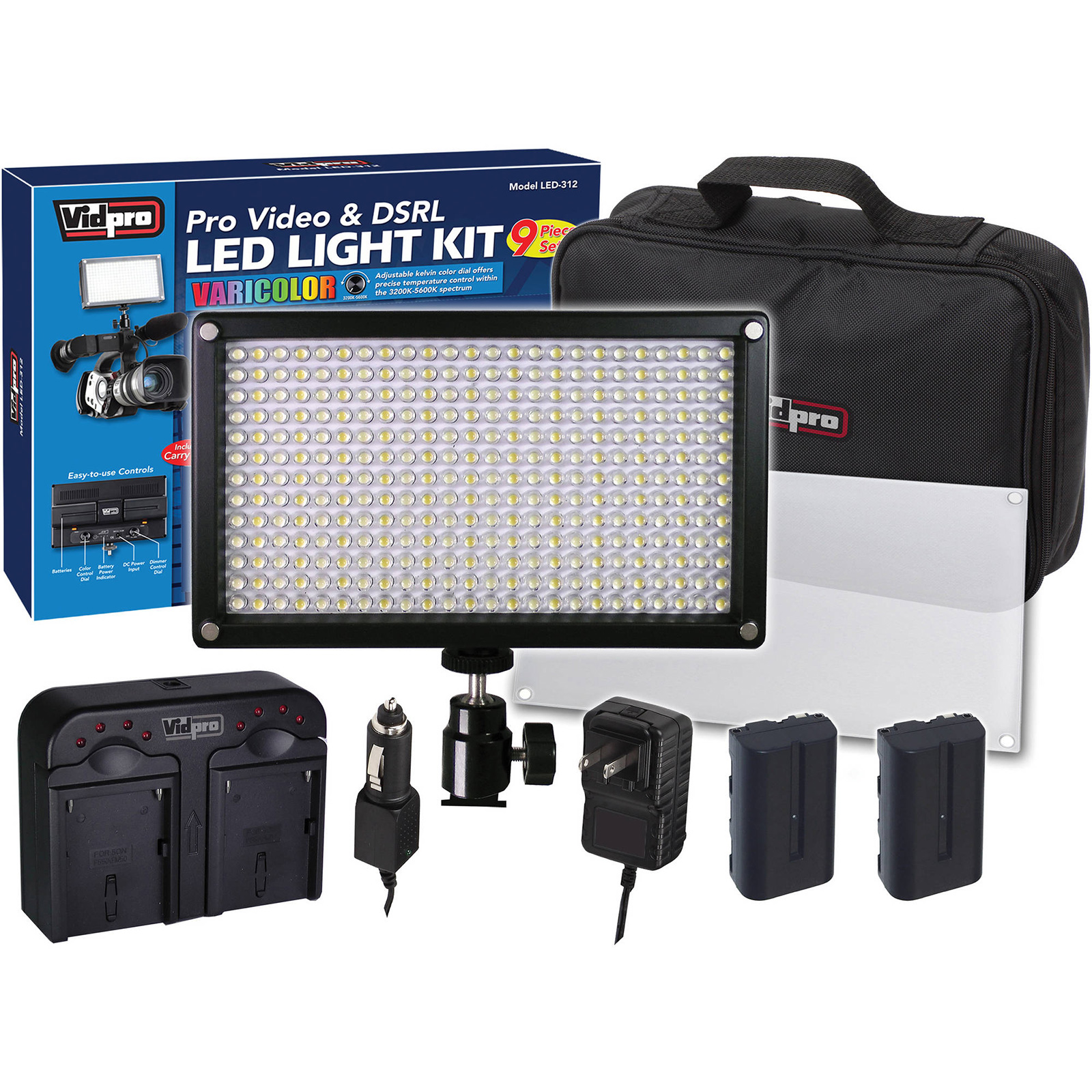 Vidpro 9pc VariColor Photo/Video LED Light Kit with 2 Batteries, Charger, Diffuser & Case