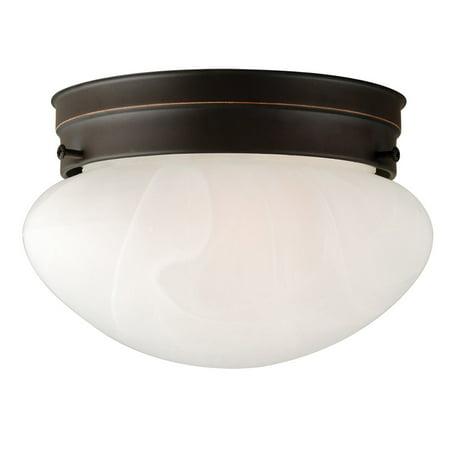 Design House 514547 Millbridge 1-Light Ceiling Light, Alabaster Glass, Oil Rubbed Bronze Alabaster Bowl Ceiling Light