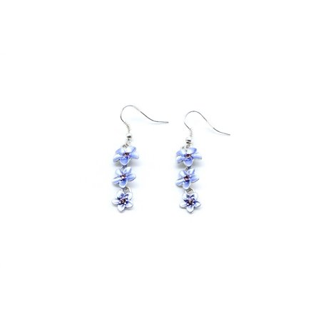 Women's Fashion Metal Steel Hawaii 3 Hibiscus with CZ Earrings Dangle in Light Purple Blue Murano Glass Earrings