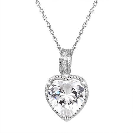 Sterling Silver Heart Pendant Heart Cut Solitaire Cubic Zirconia Cz Free Necklace