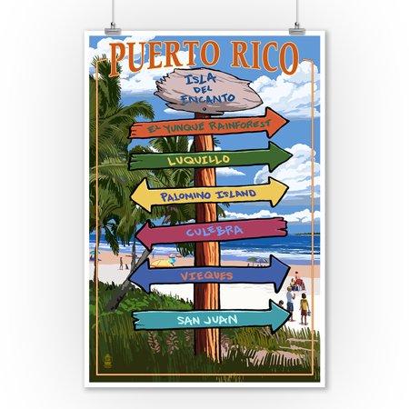 Isla del Encanto, Puerto Rico - Destinations Sign- Lantern Press Artwork (9x12 Art Print, Wall Decor Travel Poster) (Rich Decor)