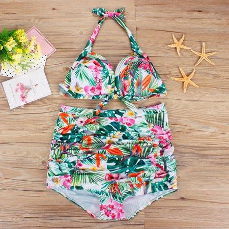 33f8c8936 Mosunx - Plus Size Women Push-Up Padded Bra Beach Bikini Set Swimsuit Print Sexy  Swimwear - Walmart.com