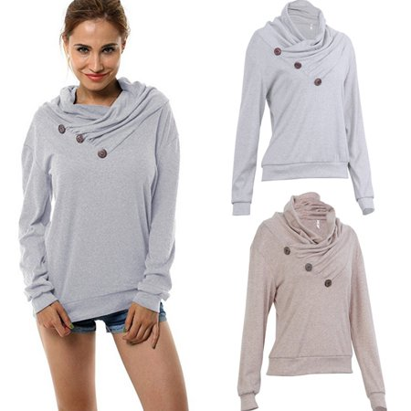 Quality Log (New Arrival Women's Decorative Buttons Delicate Cowl Neck High Quality Fashion Casual Long Sleeve Hoodies )