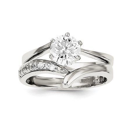 Ice Carats 925 Sterling Silver 2 Piece Cubic Zirconia Cz Wedding Band Ring Size 6 00 Engagement