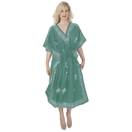 Women Embroidered Swimwear Beach Dress C Green Plain Us 14 18w