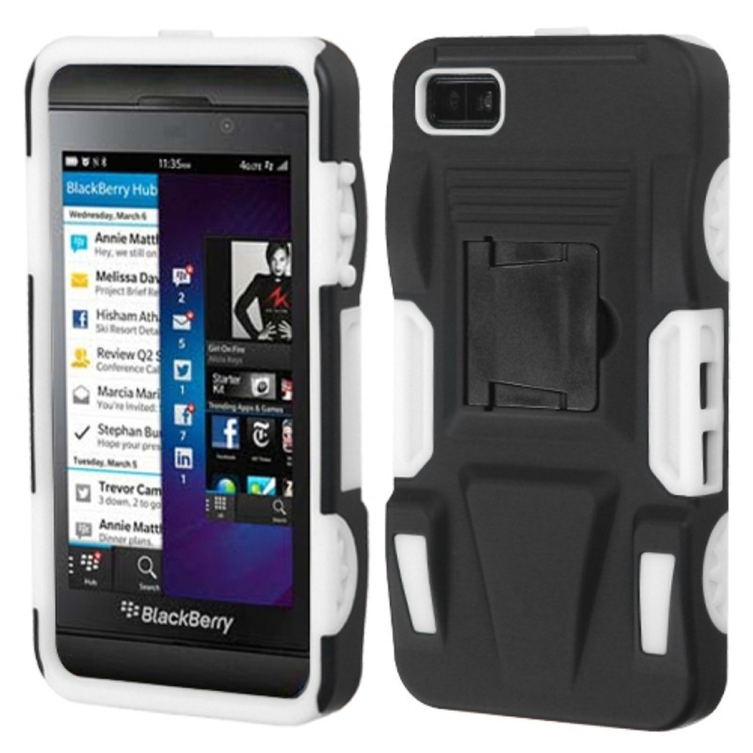 Insten Black/White Advanced Armor Stand Case (Rubberized) for BLACKBERRY: Z10