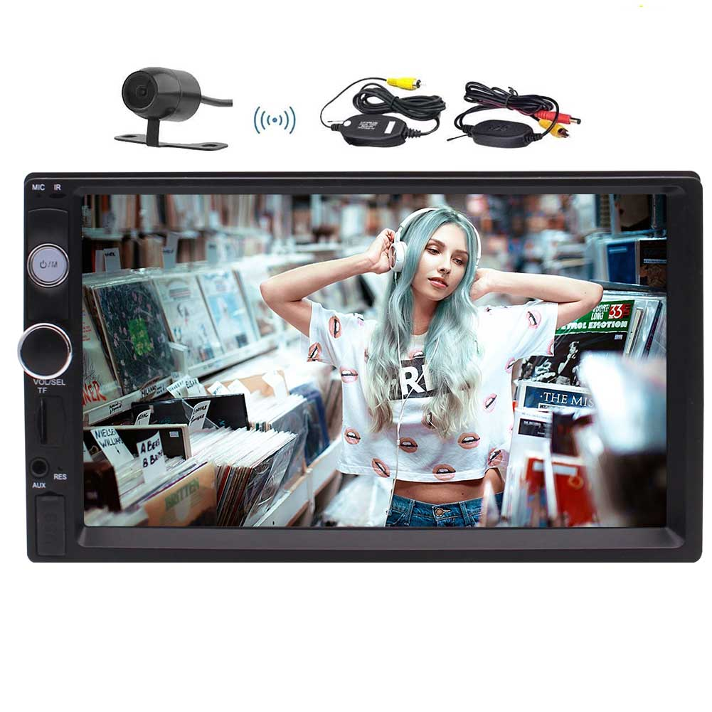 Free HD Wireless Backup Camera provided!Newest Eincar MP5 Player Car Stereo Double Din In Dash 7 Inch Touchscreen FM Radio Video Support Bluetooth /Hands-free Call USB/TF AUX-in/SWC