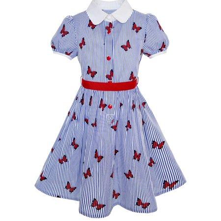 Girls Dress School Uniform Blue Strip Butterfly Print Gingham 4