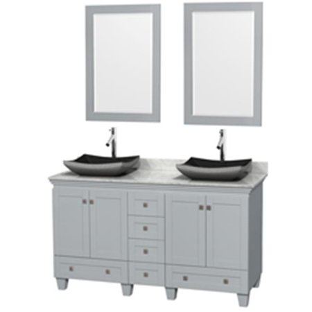 60 in. Double Bathroom Vanity In Oyster Gray, White Carrera Marble Countertop, Altair Black Granite Sinks With 24 in. Mirrors