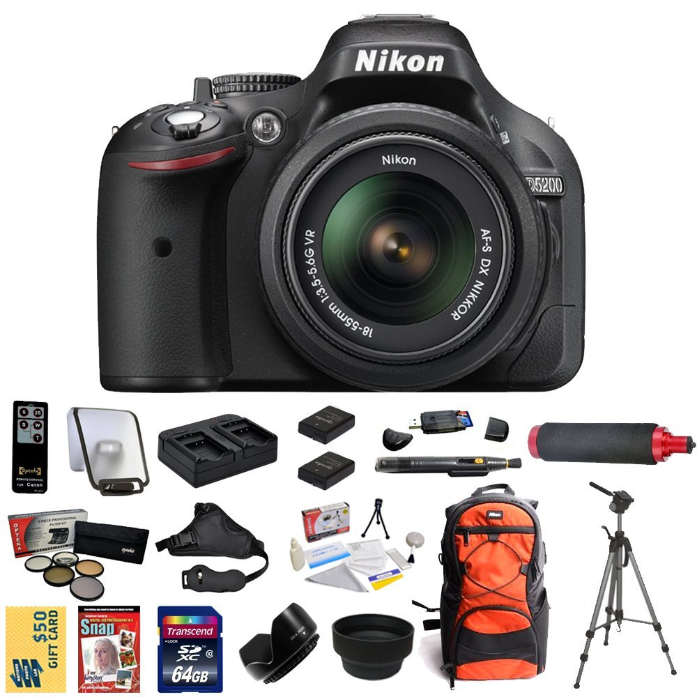 Nikon D5200 Digital SLR Camera 18-55mm G VR DX AF-S Zoom ...