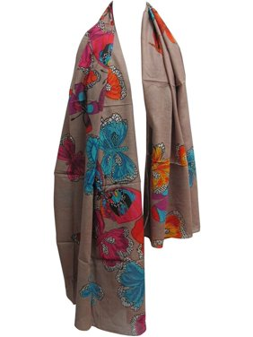Indian Gauze Cotton Butterfly Design Long Large Scarf Sarong Shawl (Beige JK325)