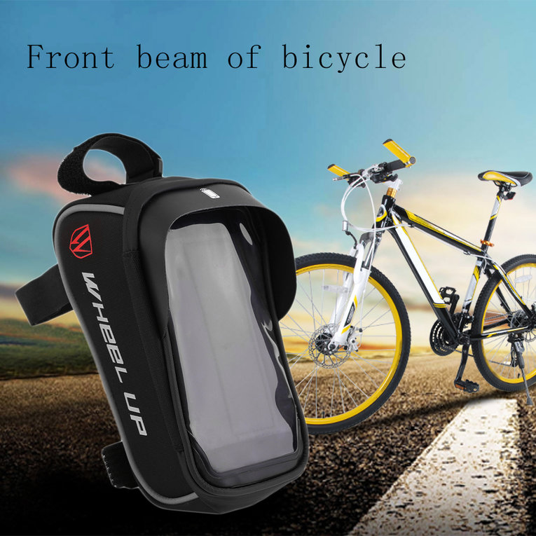 Bicycle Bag, Basket Waterproof Practical Bike Front Basket Pannier Frame Tube Handlebar Bag Pouch Black And Grey