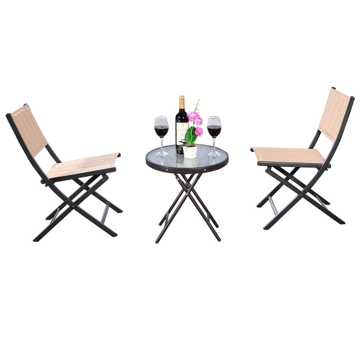 Costway 3PCS Patio Folding Table Chairs Furniture Set Bistro Garden Steel