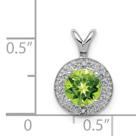925 Sterling Silver Rhodium Plated Diamond and Peridot Pendant - image 2 of 4