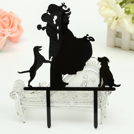 Wedding Party Silhouette Cake Topper Decor Mr & Mrs Bride & Groom Black - Mrs Cake