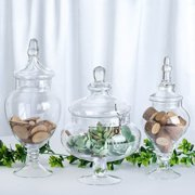 """Efavormart Set of 3 Clear Apothecary Glass Candy Jars With Lids - 12""""/13""""/14"""""""