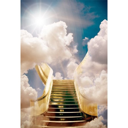 HelloDecor Polyster 5x7ft Heavenly Stair Backdrop Holy Celestial Clouds Photography Background Adult Lovers Girl Boy Artistic Portrait Supernal Sky Dreamy Photo Shoot Studio Props Video Drop