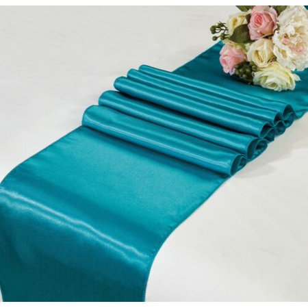 VELVET 1PC TEAL SATIN TABLE RUNNER PARTY EVENTS, CONVENTIONS DECOR WEDDING, CHURCH, BABY SHOWER SIZE 12