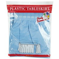 "Light  Blue  29""H X 14'L Plastic Disposable Party Table Skirt"
