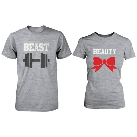 Beauty And The Beast Couples (Matching Couple Shirts - Beauty and Beast Grey Cotton Graphic)