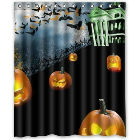 GreenDecor Halloween Night Waterproof Shower Curtain Set with Hooks Bathroom Accessories Size 60x72 inches](Halloween Shower Curtain Set)