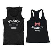 Beauty Mode and Beast Mode His and Her Matching Tank Tops for Couples