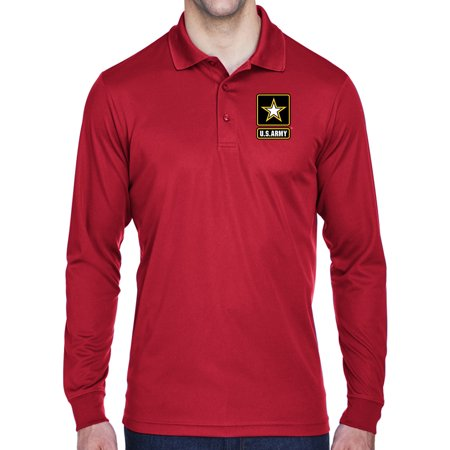 74f1ce4fb Buy Cool Shirts - Mens US Army Logo Long Sleeve Polo Shirt - Red ...