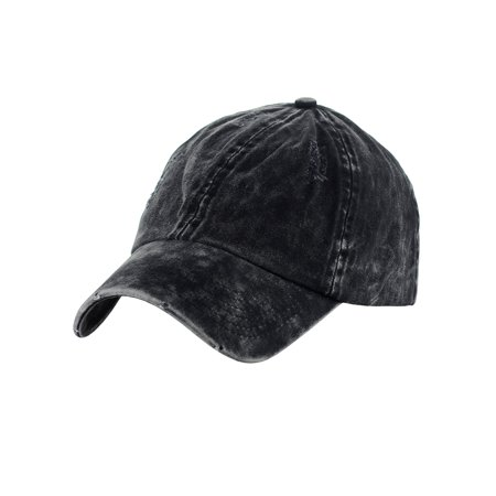 D&Y Unisex Snow Washed Distressed Cotton Twill Precurved Bill Baseball Cap, Black