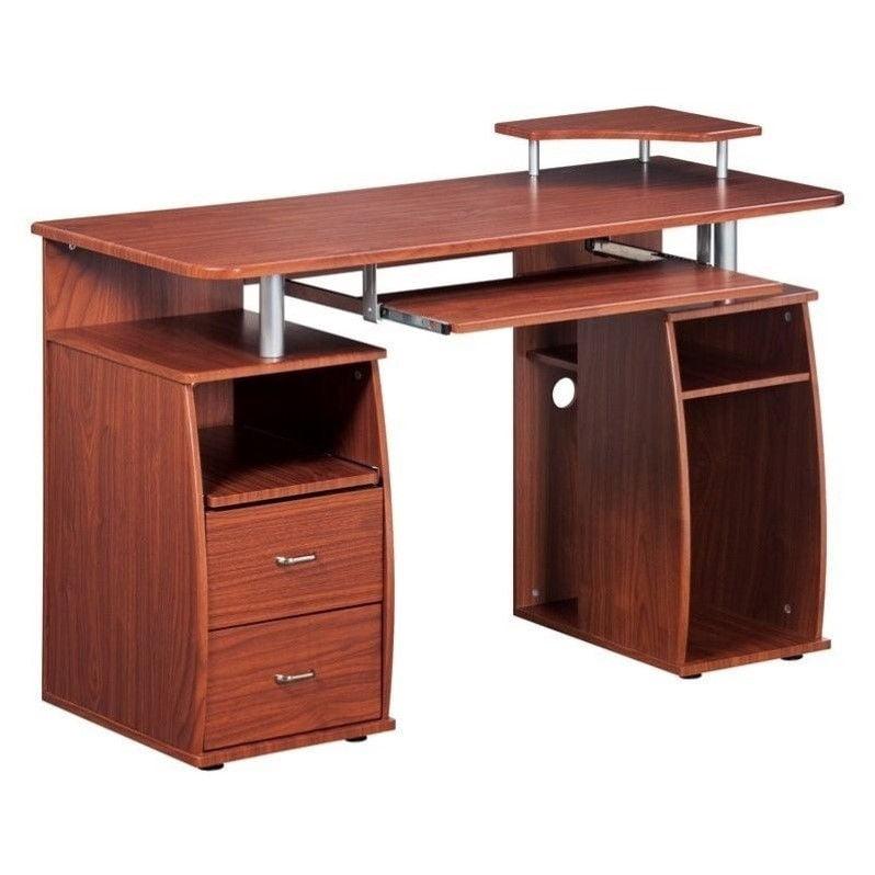 Techni Mobili Atea Wood Computer Desk In Mahogany