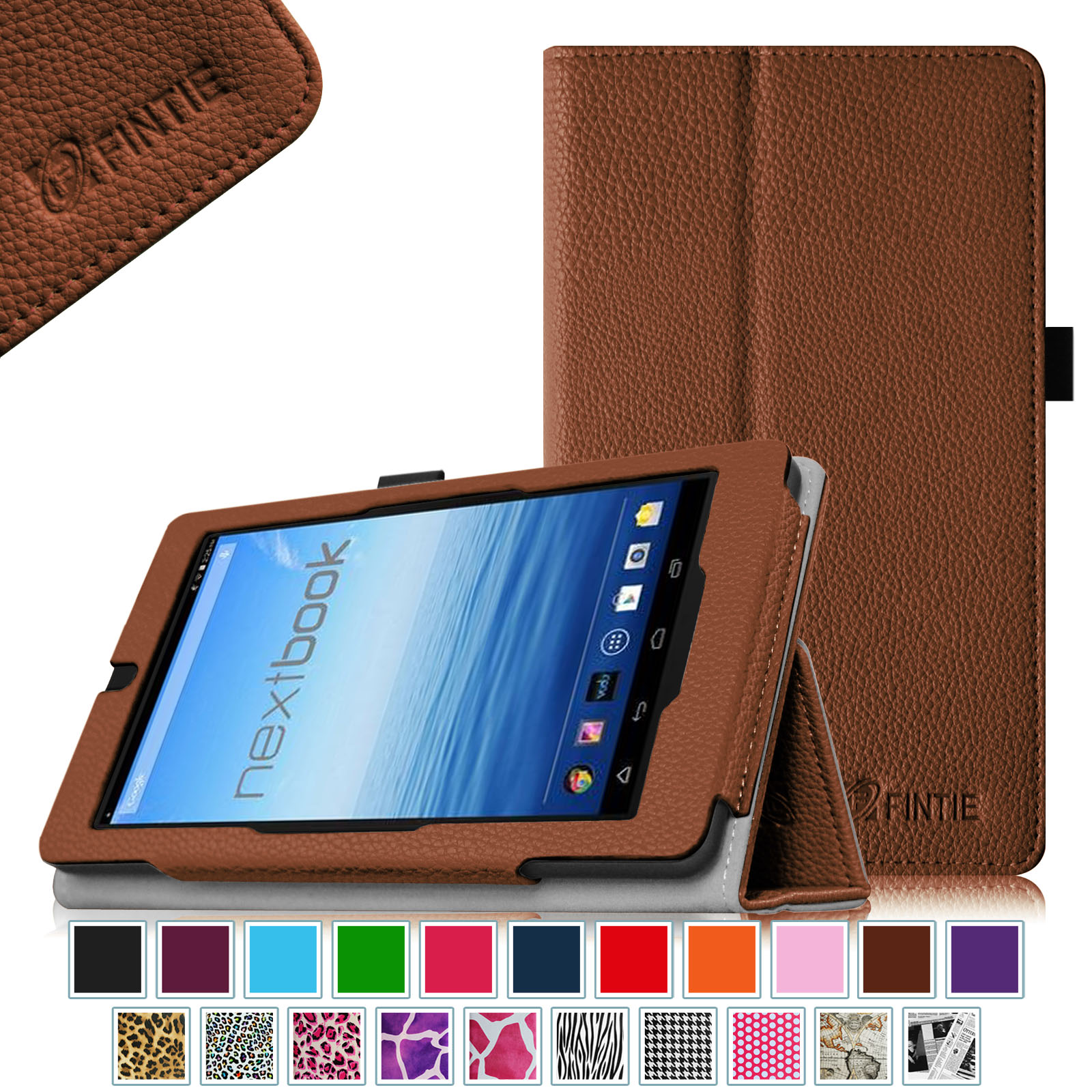 "Fintie Nextbook 7"" Tablet (NX700QC16G) Case - Premium PU Leather Folio Cover With Stylus Holder, Brown"