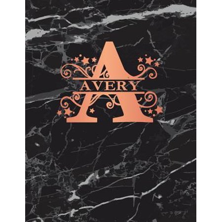 Avery Notebook (Avery: Personalized Dot Grid Bullet Notebook for Women or Girls. Monogram Initial A. Black Marble & Rose Gold Cover. 8.5 x 11 Paperback)
