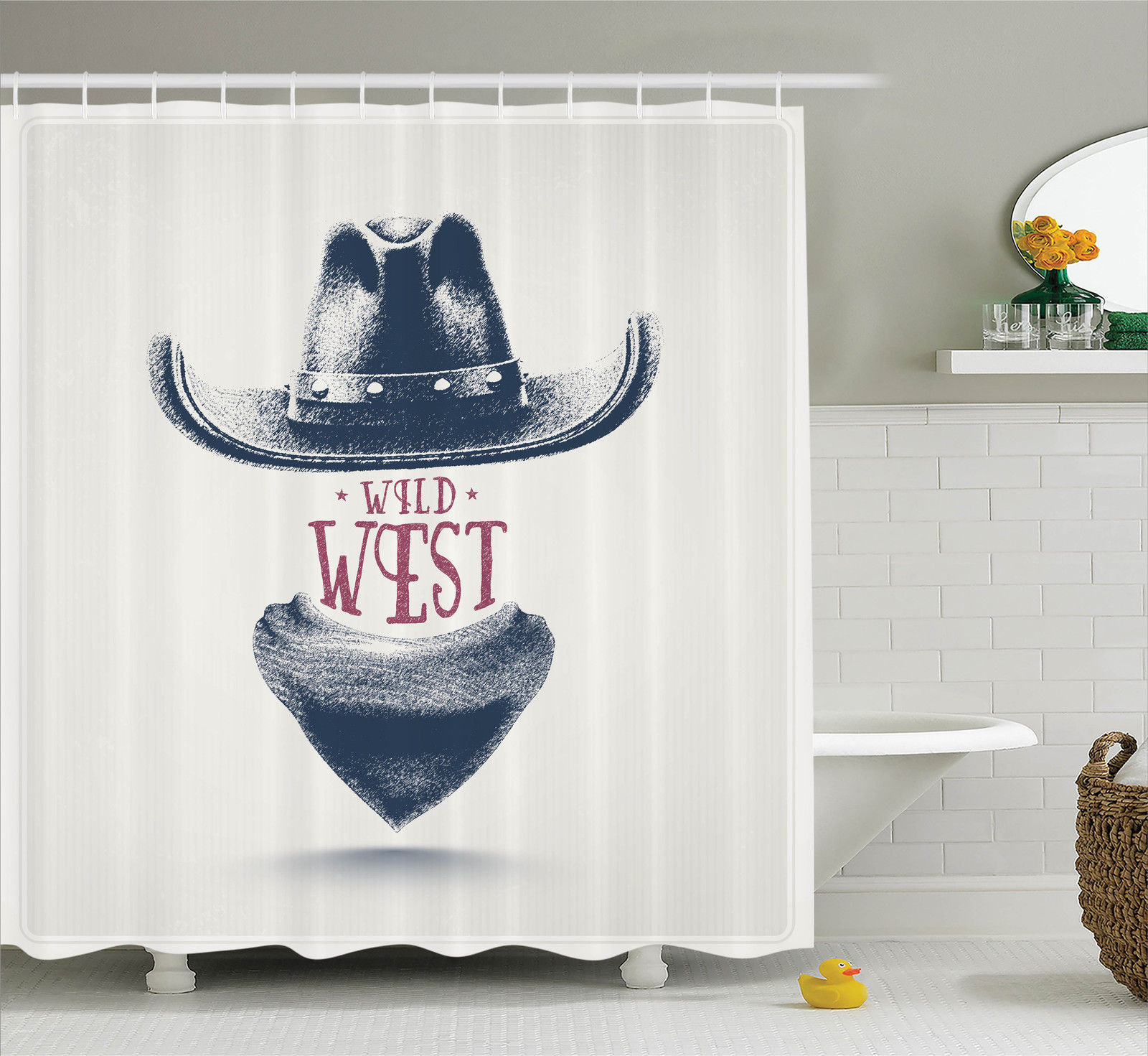 Western Decor Graphic Design Of Wild West Cowboy Hat And Scarf In Vintage Colors American New Old, Bathroom Accessories, 69W X 84L Inches Extra Long, By Ambesonne