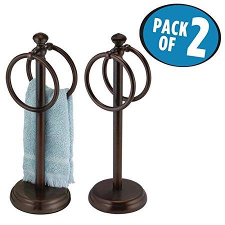 Suede Vanity - mDesign Double Sided Towel Holder Stand for Bathroom Vanity Countertops Pack of 2 Bronze