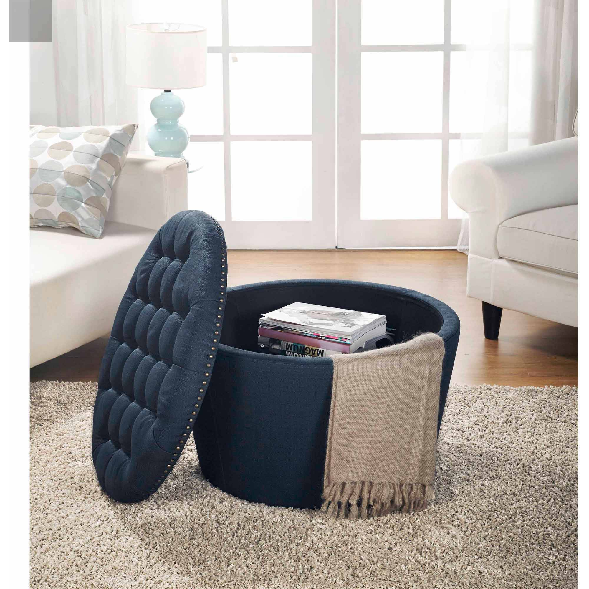 Better Homes And Gardens Round Tufted Storage Ottoman With Nailheads Navy New Ebay