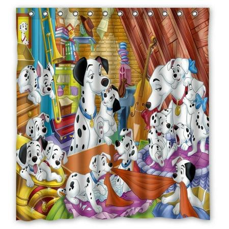 DEYOU Dalmatians Shower Curtain Polyester Fabric Bathroom Size 66x72 Inch