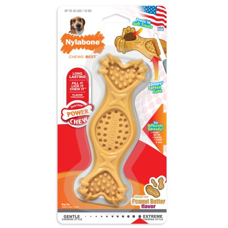 Nylabone Power Chew Fill & Treat, Peanut Butter Flavored Dog Fillable Toy, Wolf (Wolf Durable Chews)