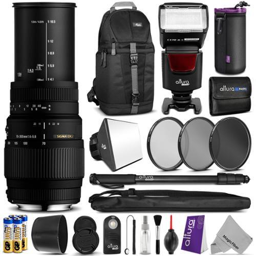 Sigma 70-300mm f/4-5.6 DG Macro Telephoto Zoom Lens for NIKON DSLR Camera w/ Complete Flash, Photo and Travel Bundle