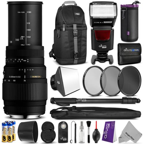 Sigma 70-300mm f/4-5.6 DG Macro Telephoto Zoom Lens for NIKON DSLR Camera w/ Complete Flash, Photo and Travel Bundle