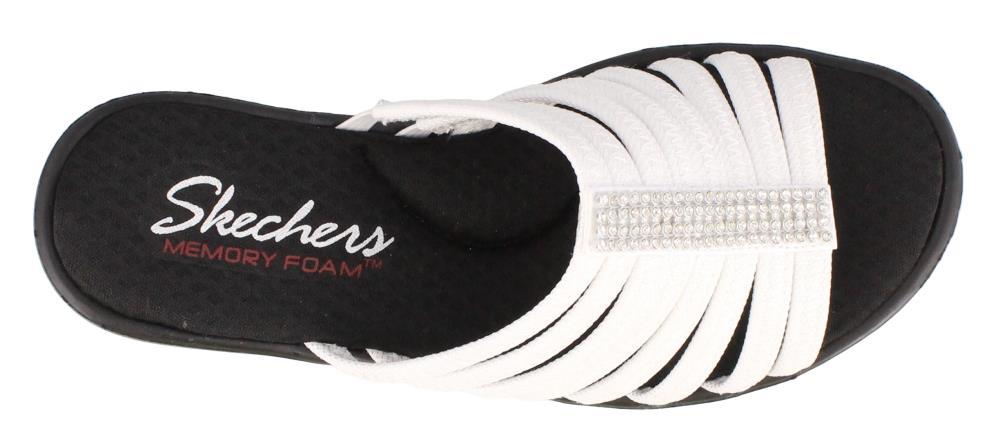 Skechers Cali Women's Rumblers Hot Shot Wedge Sandal, White, 5 M US