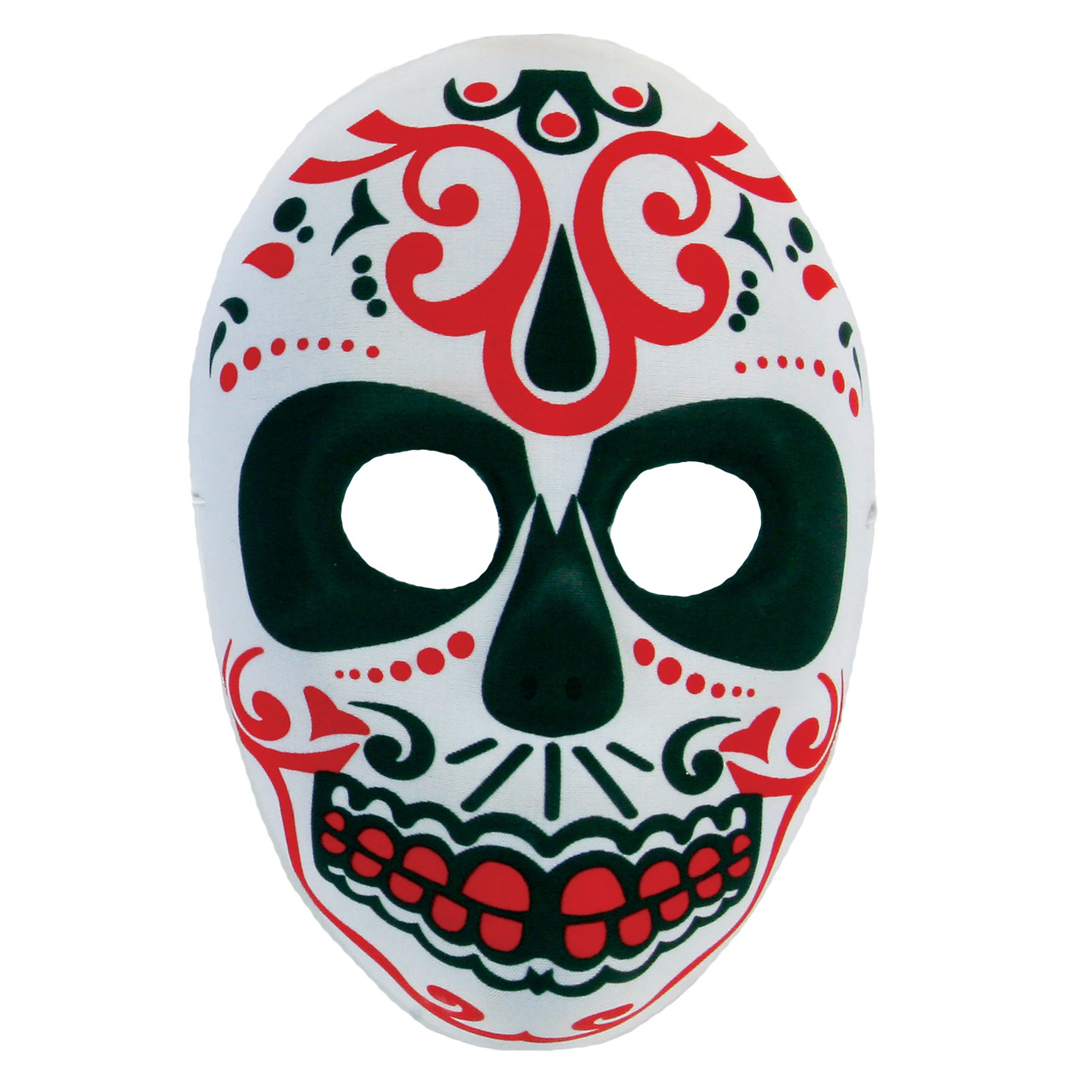 "Fun World Day of the Dead Sugar Skull Mask, One Size 10""x7"", White Red"