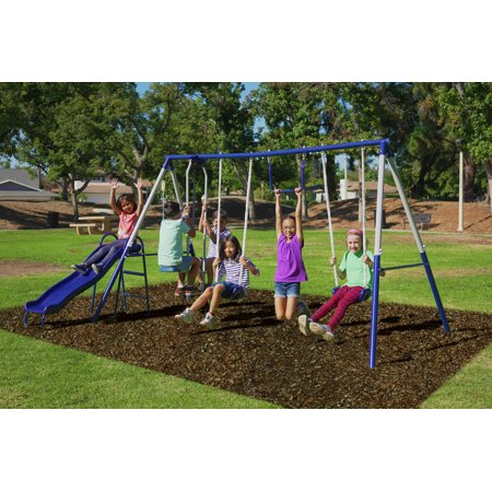 Sportspower Arcadia Metal Swing Set with Two Adjustable Swing Chains, 5ft Heavy Duty Slide, Metal Trapeze, and Flying -