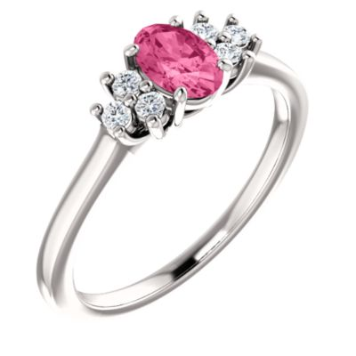 14k White Gold Pink Tourmaline Oval 6x4mm Pink Tourmaline 0.13 Dwt Diamond Ring -- Sz 6.5 by