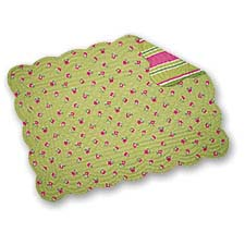 Set of 4 Pcs, 13x19 Inches Quilted Scallop Edge Reversible Placemats, St. Tropez, Green Mini Floral / Stripe