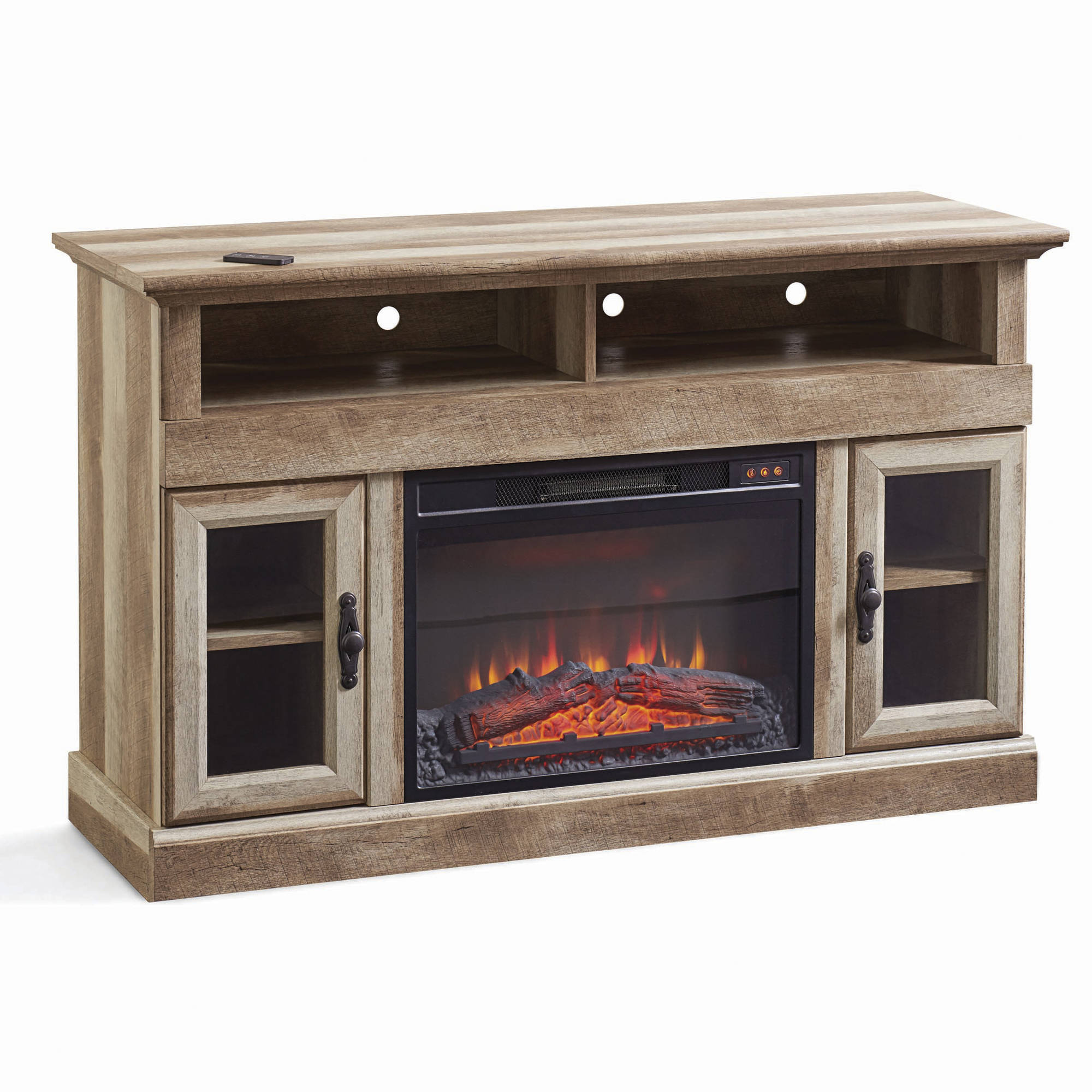 Better Homes And Gardens Crossmill Fireplace Media Console, Weathered  Finish   Walmart.com  Fireplace Media Stand