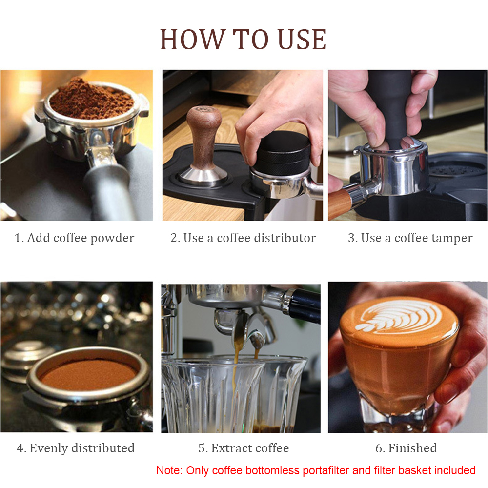 Glossia Coffee Bottomless Portafilter for EC680//EC685 Filter 51MM Replacement Filter Basket Coffee Accessories