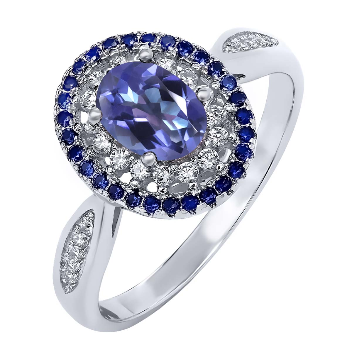 1.55 Ct Oval Purple Blue Mystic Topaz 925 Sterling Silver Ring