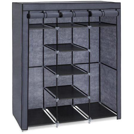 Best Choice Products 9-Shelf Portable Fabric Closet Wardrobe Storage Organizer w/ Cover and Adjustable Rods, (Best Celebrity Wardrobe Malfunctions)